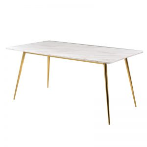 JT-DT-29 18mm thk. Artificial marble top with titanium gold stainless steel leg Dining Table White marble+Gold