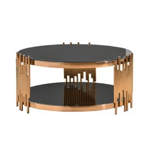 JT-B-28 Temp-Glass with Rose gold stainless steel frame Coffee Table Black glass + Rose Gold