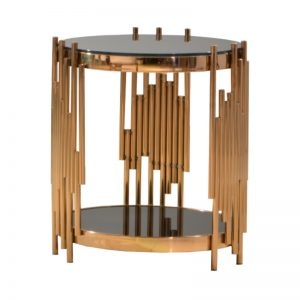 JT-B-28S Temp-glass with rose gold stainless steel frame Side Table Black Glass+Rose Gold