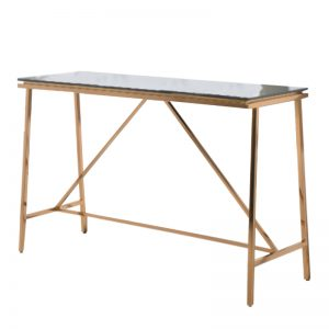 JT-DT-23 Temp-glass top with rose gold stainless steel frame CONSOLE TABLE Black glass+Rose gold
