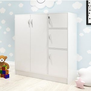 BARRY 5 doors children wardrobe with key lock- White