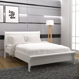 FLORIDA solid wood queen size bed frame-white