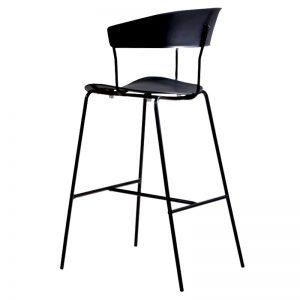 RD-PC 161H BK Polypropylene (PP) seat and backrest with powder coated metal frame Bar Stool Black