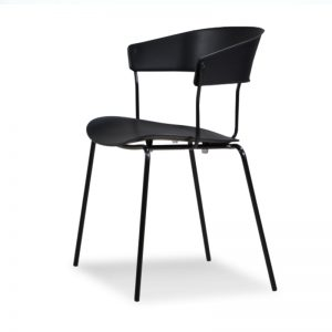 RD-PC 161 BK Polypropylene (PP) seat & backrest with powder coated metal frame Dining Chair Black