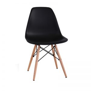 XY-638 BK PP PLASTIC SEAT WITH BEECH WOOD LEG Dining Chairs Black