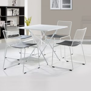 RD-MC134A WH PU cushion seat with powder coated metal frame with anti-rust coating Metal Chair White