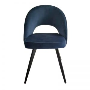 TH-F13 BL Velvet uph cushion seat & backrest with black powder coated metal leg Dining Chair Blue