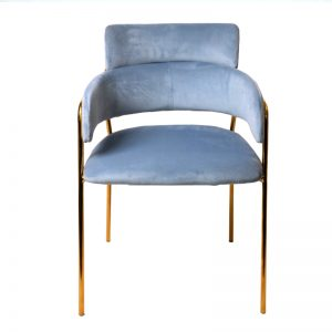 TH-M5 SBL Velvet uph cushion with gold color chrome frame Dining Chair Sky Blue
