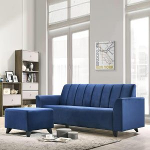 GLENDA 3 seater fabric sofa with stool- Blue