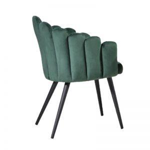 BYM-DC-99011 GR Velvet fabric cushion seat & backrest with black powder coated metal leg LEISURE CHAIR Green
