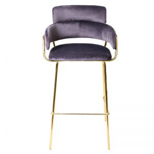 TH-M5-B GR Velvet uph cushion with gold color chrome frame Bar Stool Grey