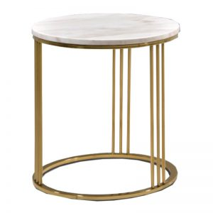 JT-B-33 Artificial marble top with titanium gold stainless steel frame Side Table White Marble