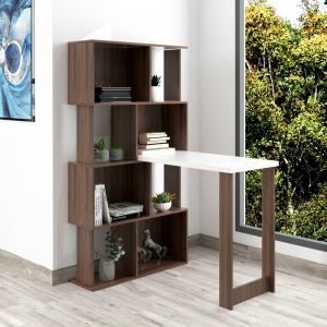 KOJA reversible study desk with bookcase cabinet