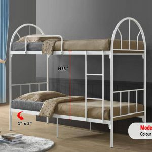 LCL900 single size double decker metal bunk bed- white