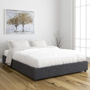 OWEN queen size fabric platform bed base- Dark Grey