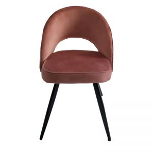 TH-F13 PH Velvet uph cushion seat & backrest with black powder coated metal leg Dining Chair Peach