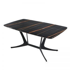 YEF-DT-1911 3D Artificial marble top with black powder coated metal base Dining Table Black Marble