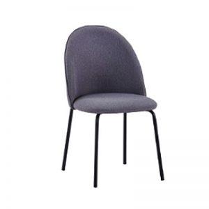BYM-DC-99032 Velvet uph cushion with black powder coated metal leg Dining Chair Light Grey