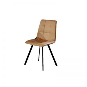 BYM-DC-89501 PU Leather cushion with black powder coated metal leg Dining Chair Brown