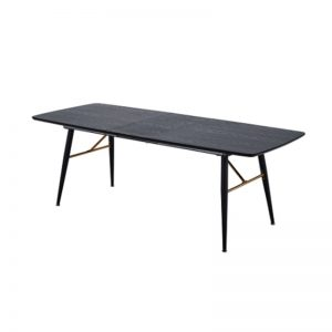 BYM-DT-99010 MDF in veneer top and Gold chrome bracket with black powder coated metal leg EXTENDABLE DINING TABLE  Black Woodgrain