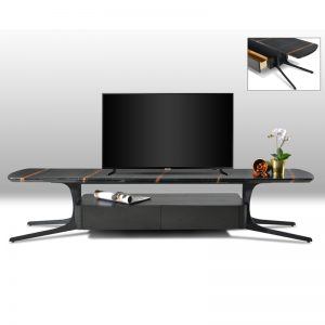 YEF-TV-1911 3D Artificial marble top with black powder coated metal base 6FT TV Cabinet Black Marble