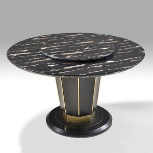 TY-T836 Artificial marble top with solid ash wood base & gold frame Dining Table Black marble+Gold