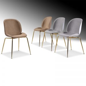 SL-7048B Polypropylene (PP) with cushion seat & golden chrome leg Dining Chairs White PP+Grey cushion, Grey PP+Grey cushion, BrownPP+Brown cushion