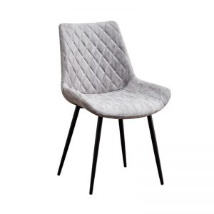 BYM-DC-83021 Fabric uph cushion with powder coated metal leg Dining Chair Light Grey