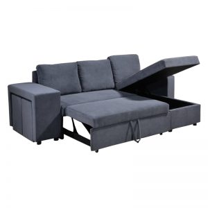 XM-Y-L2925 Fabric uph cushion with S-spring & foam, pine wood frame & black plastic leg L-SHAPE SOFA BED WITH OTTOMAN Grey