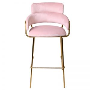 TH-M5-B SBL Velvet uph cushion with gold color chrome frame Bar Stool Sky Blue