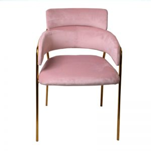 TH-M5 PK Velvet uph cushion with gold color chrome frame Dining Chair Pink