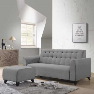 RICO 3 seater fabric sofa with stool-Light Grey