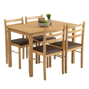 WALD 4 seater solid wood dining set starter set
