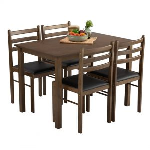 WALD 4 seater solid wood dining set starter set- cappucino