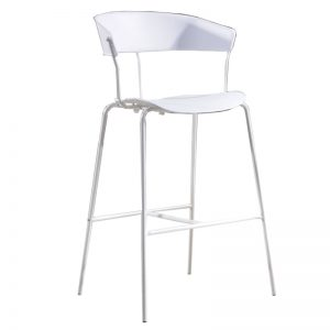 RD-PC 161H WH Polypropylene (PP) seat and backrest with powder coated metal frame Bar Stool White