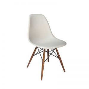 XY-638 WH PP PLASTIC SEAT WITH BEECH WOOD LEG Dining Chairs White