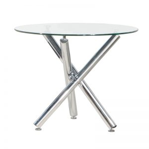 YY-F79 Temp-glass top with chrome leg Dining Table Clear Glass