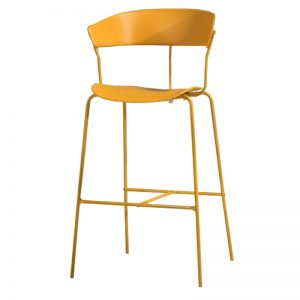RD-PC 161H GYL Polypropylene (PP) seat and backrest with powder coated metal frame Bar Stool Ginger Yellow