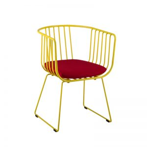 RD-MC 032 YL Cushion seat with Powder coated metal frame Relaxing Chair Yellow