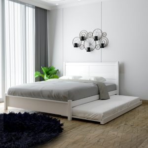 CLINTON solid wood bedframe with pull out bed-white