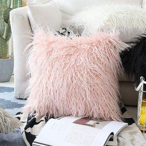 Furry 45x45cm cushion pillow cover-pink