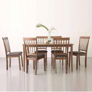 Myla 6 seater dining set-walnut