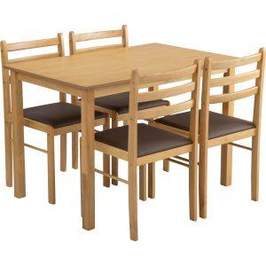 WALD 1+4 Solid Wood Dining Set – Natural colour, Mocha colour Vinyl cushion seat