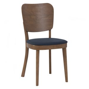 BEVERLY Solid Wood Dining Chair – Cocoa colour leg, Navy colour Challis fabric