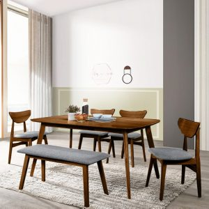 HINO solid rubberwood 6 seater dining set with bench-walnut