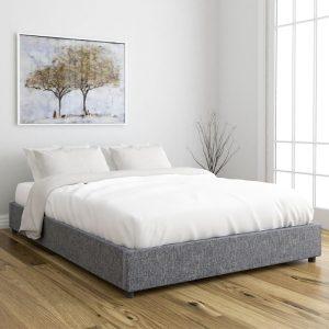 OWEN queen size fabric platform bed base- Light Grey