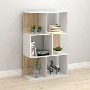 TINA 3 tier bookcase- Oak+white