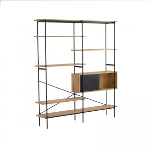 Kreman Wall Unit – Oak colour shelf, Matt Black Epoxy colour frame