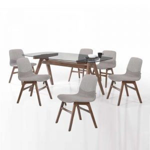 IZABELA DT5152+DC423 – 1.8M Top Clear Glass Solid Rubber Wood 6 Seater Dining Set