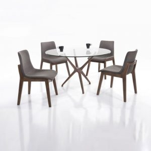 IZABELA DT12+DC296SP3 – 1.2M Round Tempered Glass 4 Seater Dining Set